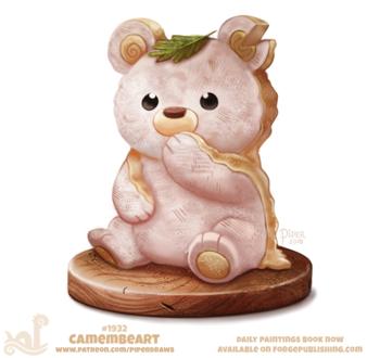 Фото Съедобный мишка сидит на доске с листочком на голове (Camembeart), by Cryptid-Creations