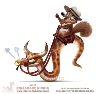 Фото Белка на змее с рогами быка (Bullsnake Riding), by Cryptid-Creations