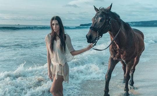 Фото Девушка с лошадью идут по побережью, фотографKonrad Bаk
