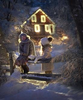 Фото Девочки у забора на фоне ночного домика, by Elena Shumilova