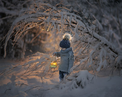 Фото Мальчик с горящим фонарем стоит у зимнего дерева, by Elena Shumilova