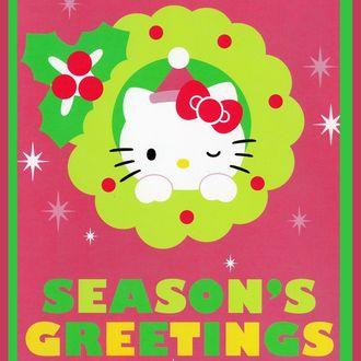 Фото Hello Kitty / Хэллоу Китти с розовым бантиком в рождественском венке, seasons greetings