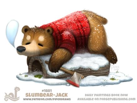 Фото Спящий мишка в клетчатой рубашке на бревне с топором (Slumbear-Jack), by Cryptid-Creations