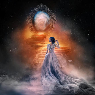 Фото Девушка в длинном платье стоит у лестницы, by Kryseis-Art