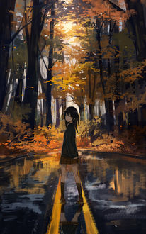 Фото Девочка стоит на дороге, by Axle