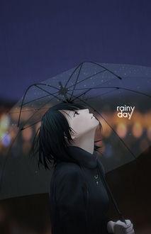 Фото Девушка с прозрачным зонтом смотрит вверх (rainy day)