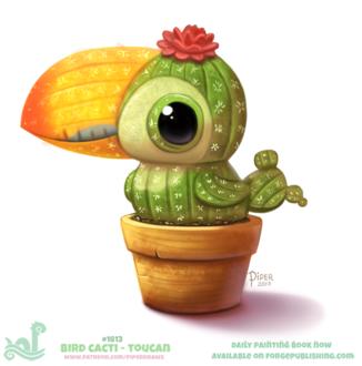 Фото Кактусовый тукан в горшке (Bird Cacti - Toucan), by Cryptid-Creations