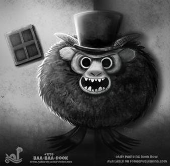 Фото Черно-белый рисунок рогатого монстра в цилиндре (Baa-baa-dook!), by Cryptid-Creations