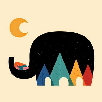 Фото Девочка спит на хоботе слона, иллюстратор Andy Westface