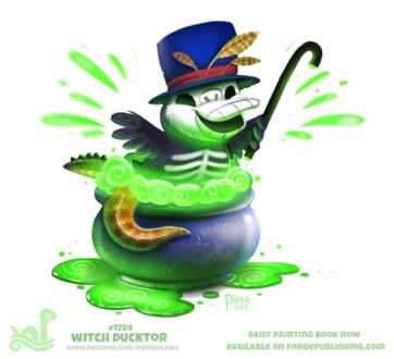 Фото Утка с черепом, с змеиным и крокодиловым хвостами в котле в зеленой жиже (Witch Ducktor), by Cryptid-Creations