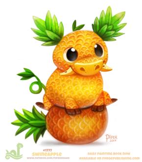 Фото Ананасовый бычок сидит на ананасе (Swineapple), by Cryptid-Creations