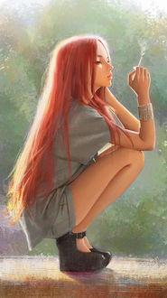 Фото Девушка с длинными волосами присела на корточки и держит сигарету в руке, by Africa +