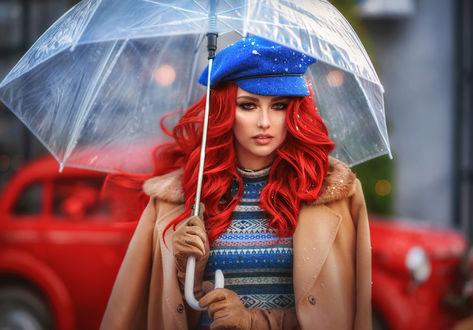 Фото Девушка с яркими волосами стоит под зонтом. Фотограф Ilona