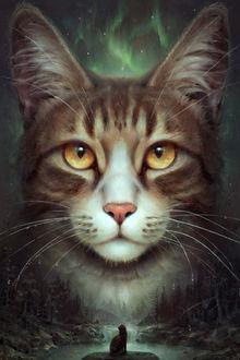 Фото Кошка смотрит на огромную кошку в небе, by silesti