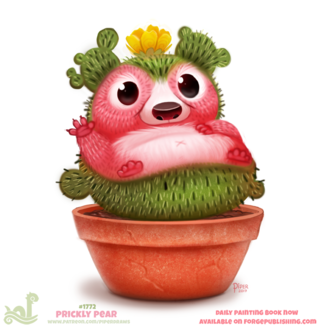 Фото Ежик-кактус в горшке (Prickly Pear), by Cryptid-Creations