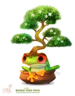 Фото Лягушка с деревом бонсай (Bonsai Tree-Frog), by Cryptid-Creations