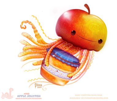 Фото Медуза в образе яблока с баночкой яблочного варенья (Apple Jellyfish), by Cryptid-Creations