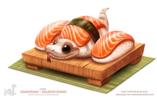 Фото Суши-змея по середине среди других суш (Sushinoko - Salmon Nigiri), by Cryptid-Creations