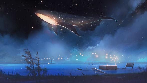 Фото Кит над водоемом в ночном небе