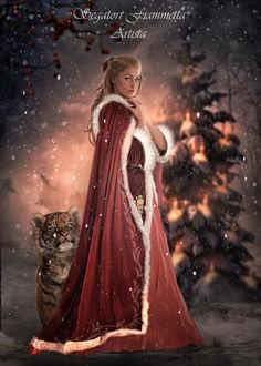 Фото Девушка стоит рядом с тигренком в лесу, by Fiammetta62