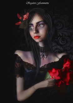 Фото Девушка с красными розами, by Fiammetta62