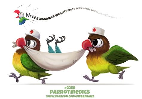 Фото Два попугая в шапках с крестом несут больного попугая (Parrotmedics), by Cryptid-Creations