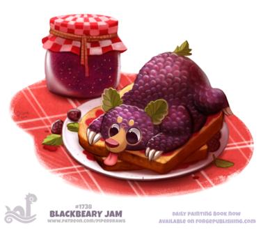 Фото Ежевичный медведь на двух тостах, рядом стоит баночка варенья (Blackbeary Jam), by Cryptid-Creations