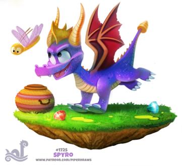 Фото Фиолетовый дракончик рядом с летающим насекомым (Spyro), by Cryptid-Creations