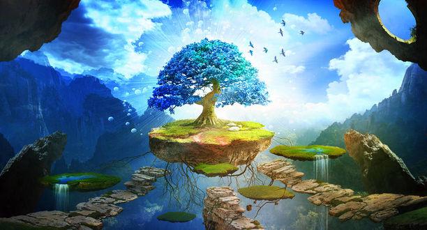 Фото Голубое цветущее дерево на островке парит на фоне облаков, by ElenaDudina