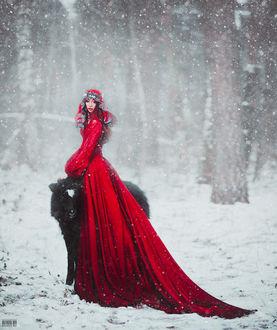 Фото Девушка в красном длинном платье стоит рядом с козлом, фотограф Светлана Беляева