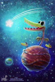Фото Мухобойка с маленькими мухобойками обвили марс в космосе (Venus Flytrap), by Cryptid-Creations