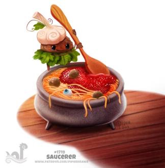 Фото Некто варит пасту в соусе, тефтелями и глазом в котле (Saucerer), by Cryptid-Creations