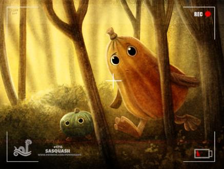 Фото Некто снимает на камеру два овоща в лесу (Sasquash), by Cryptid-Creations