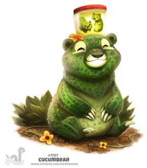 Фото Медведица-огурец на огороде, на голове стоит банка с двумя маленькими медвежатами-огурцами в рассоле (Cucumbear), by Cryptid-Creations