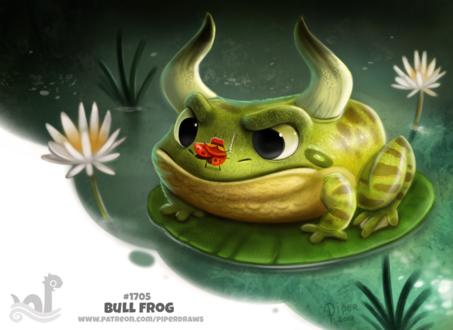 Фото Бык-лягушка, на ней сидит божья коровка с мечом (Bull Frog), by Cryptid-Creations