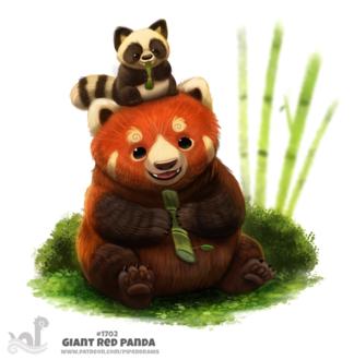 Фото Маленькая панда сидит на голове красной большой панды (Giant Red Panda), by Cryptid-Creations