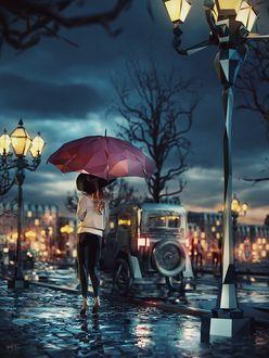 Фото Девушка с зонтом стоит на тротуаре, иллюстратор Mat Szulik