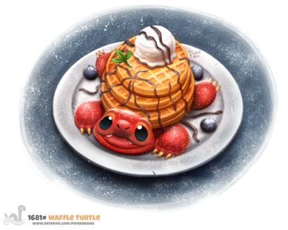 Фото Съедобная черепашка на тарелке (Waffle Turtle), by Cryptid-Creations