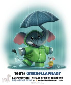 Фото Слоник с мышкой с зонтиком под дождем (Umbrellaphant), by Cryptid-Creations