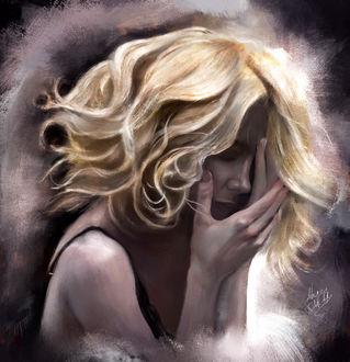 Фото Девушка - блондинка держит руки у лица, by ahmed karam