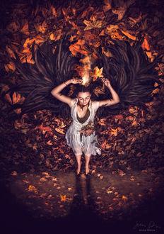 Фото Девушка с длинными волосами на осенней листве изображает птицу феникс, фотограф Jessica Drossin