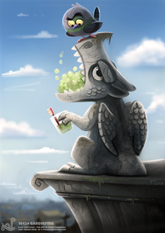 Фото Птичка сидит на горгулье (Gargoyling), by Cryptid-Creations