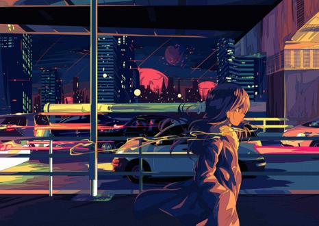 Фото Девушка гуляет по ночному городу, by BerryVerrine