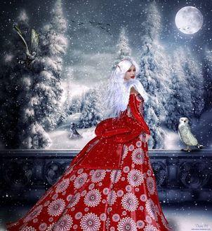 Фото Девушка в красном пышном платье стоит на фоне деревьев в снегу рядом с совой