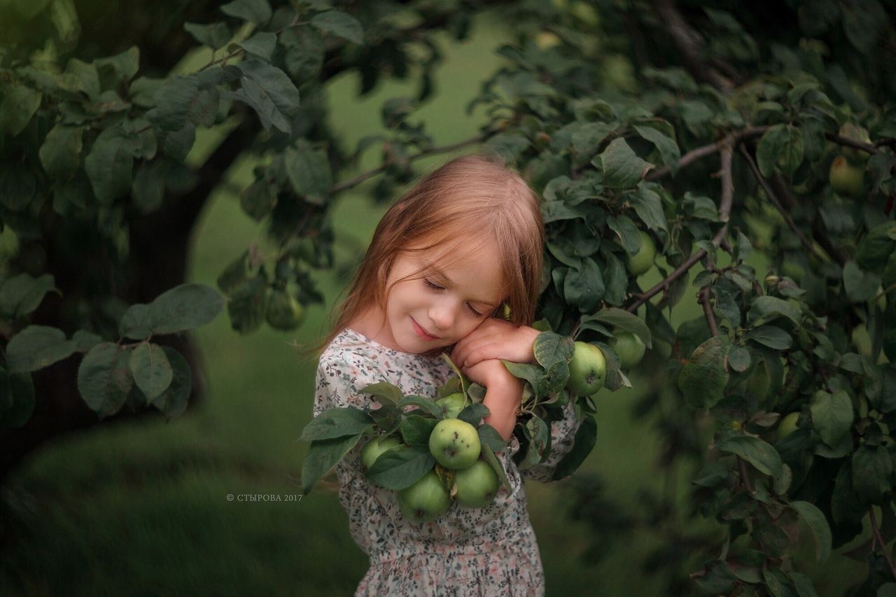 Фото Девочка держит ветку с яблоками. Фотограф Ольга Стырова