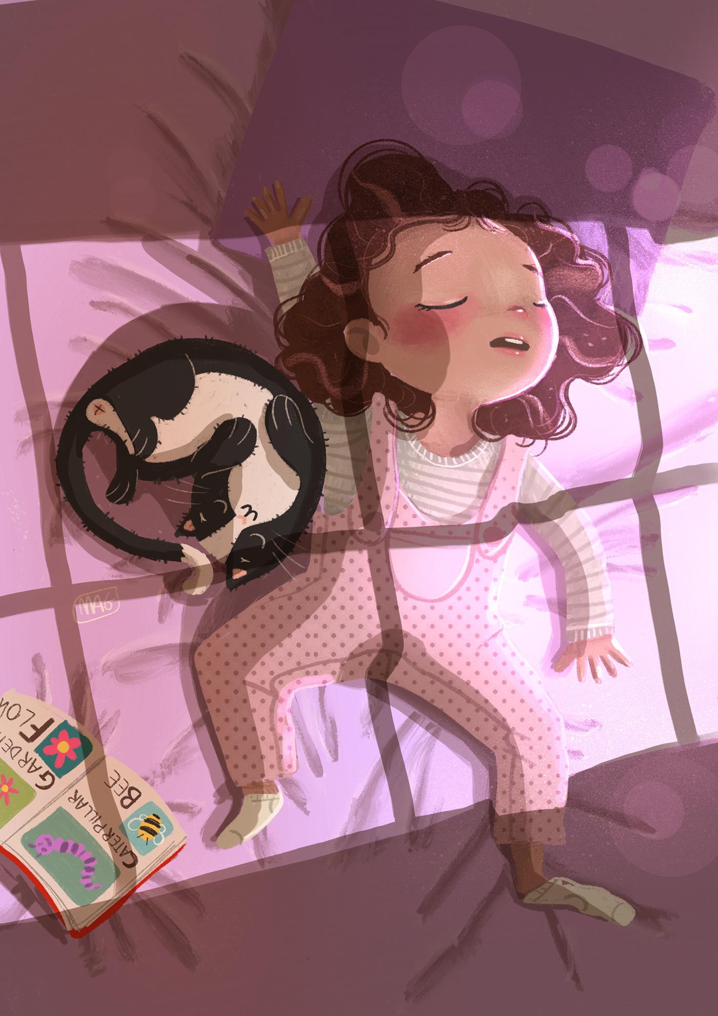 Фото Девочка с кошкой спят на постели, иллюстратор Margherita Grasso