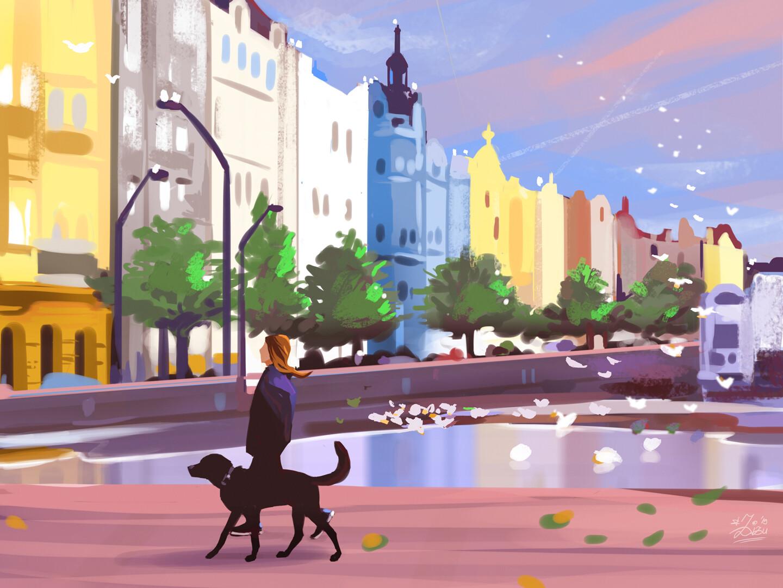 Фото Девушка гуляет с собакой по городу, by Zita Varga