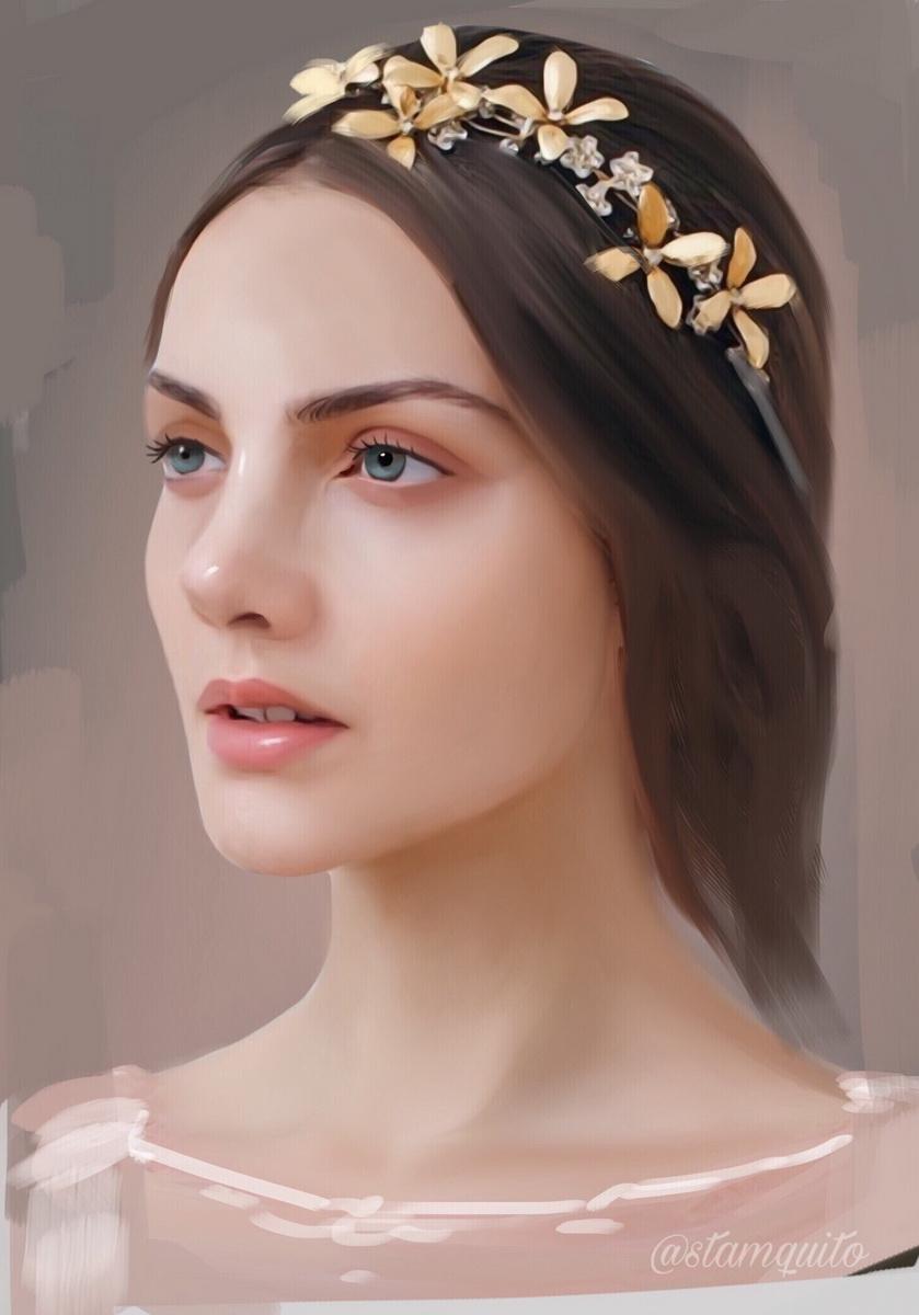 Портрет девушки в венке, by Stam Quito