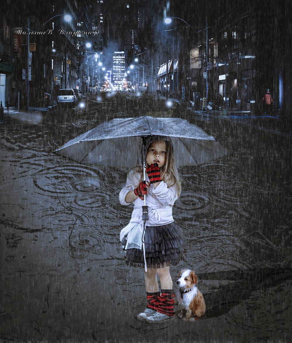 Картинка про двух девочек под зонтом