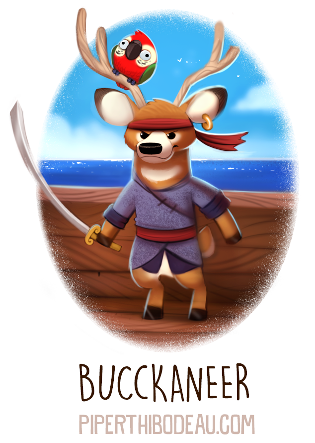Фото Попугайчик сидит на олене с мечом (Buckaneer), by Cryptid-Creations